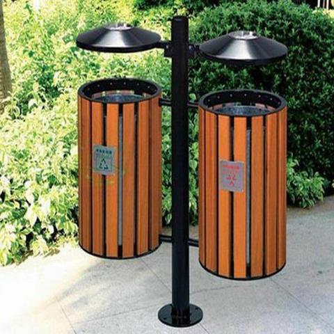 定制防腐木垃圾桶 户外景区公园碳化木垃圾箱