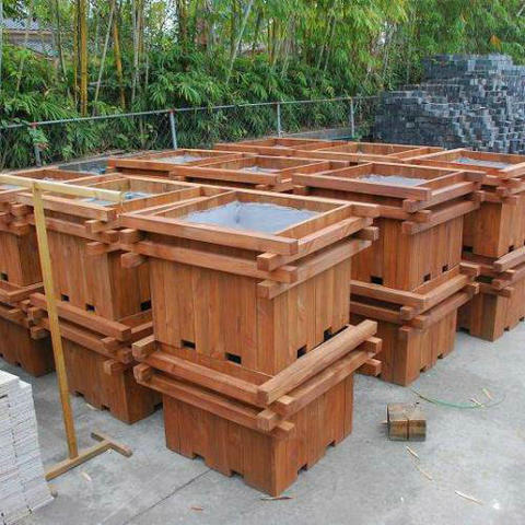 户外实木花盆花箱,防腐木花箱找麦色之晨制作
